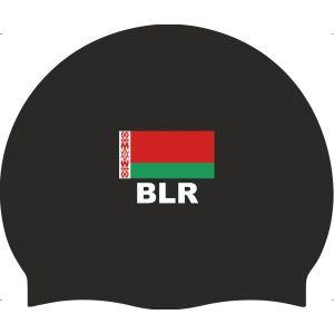 Шапочка для плавания силиконовая с флагом BLR Беларусь